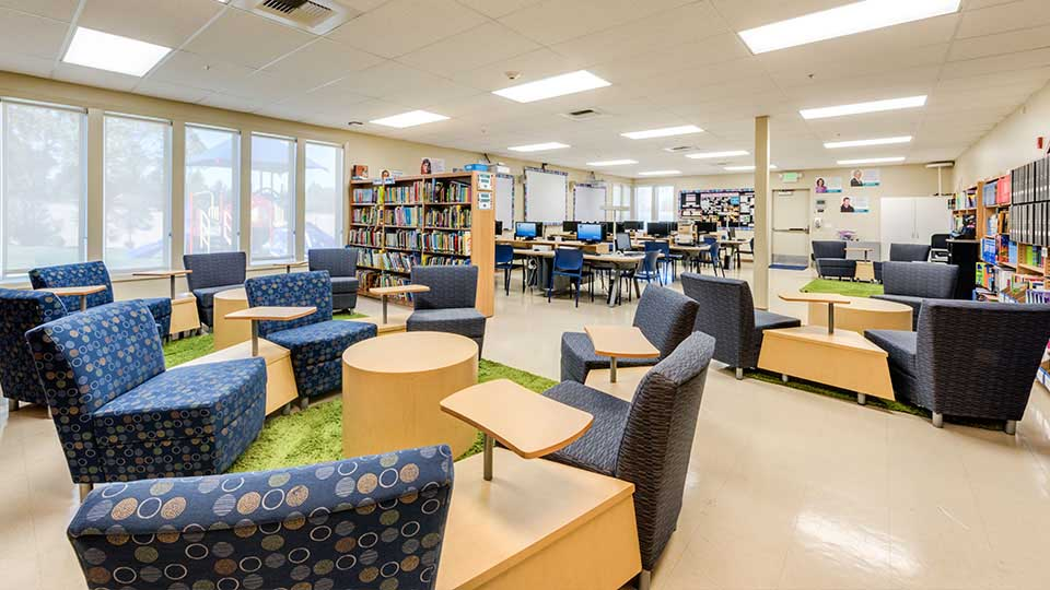 School library, vct flooring, school design, school building design, design of school building