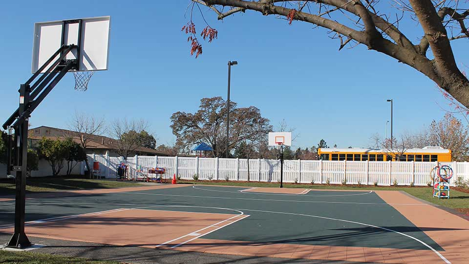 Playground basketball hoop, perforated flooring, school design, school building design, design of school building
