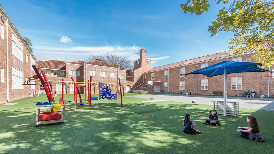 Courtyard playground, playground equipment, shade structures, school design, school building design, design of school building