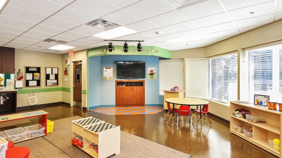 School intercom systems, track lighting systems, daycare furniture, Mannington VCT, daycare design, day care center design, childcare design, child care design, child care centre design, child care interior design, child care architect
