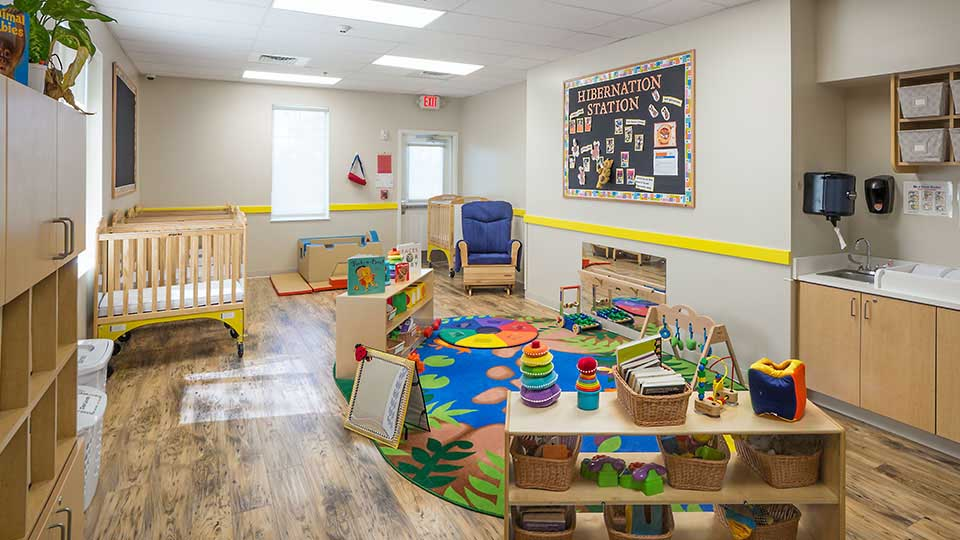 Evacuation crib, bruce flooring, classroom rugs, rtr kids rugs, infant room, daycare design, day care center design, childcare design, child care design, child care centre design, child care interior design, child care architect